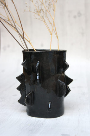 vase grès noir
